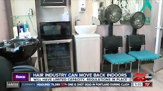 Hair salon industry can move back indoors