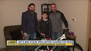 Dearborn boy receives surprise after bike stolen while buying flowers for mom