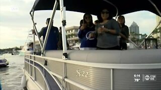 Lightning celebrating Stanley Cup win with boat celebration