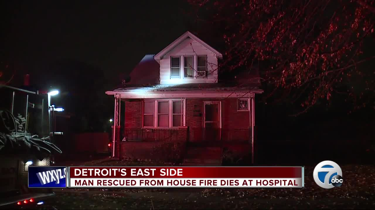 Man rescued from house fire dies at hospital
