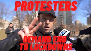 Protesters demand end to lockdowns. Toronto, 03/13/21
