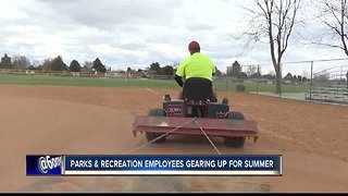 Parks and Recreation employees prepping parks for summer