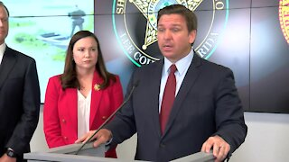 Florida Gov. Ron DeSantis holds news conference at Lee County Sheriff's Office in Fort Myers