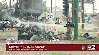 Driver killed in fiery crash in Phoenix