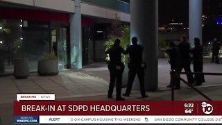 Man seen destroying lobby of San Diego police headquarters