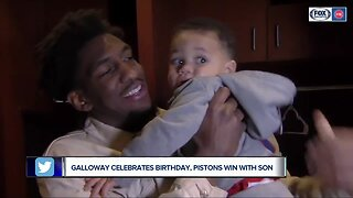 Langston Galloway celebrates Pistons win and birthday with young son