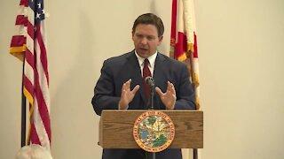 Gov. Ron DeSantis speaks to mostly maskless crowd in West Palm Beach