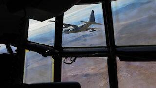 B-Roll of Marines flying over Twentynine Palms, California