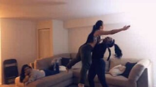 """Girls recreate dance move from """"Dirty Dancing"""""""