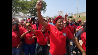 Cosatu with its various unions march to the KZN SAPS