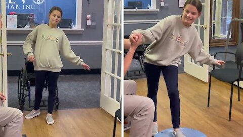 Inspirational spinal cord injury fighter learns how to walk again