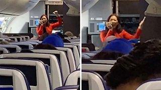 Hilarious Flight Attendant Performs Rap For Passengers