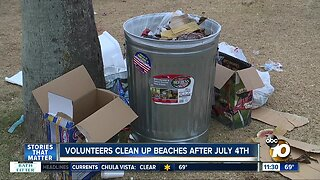 Volunteers clean up beaches after July 4th crowds