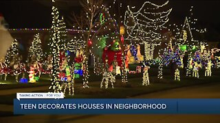 Teen decorates homes in neighborhood