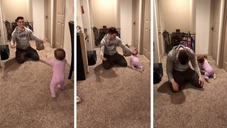 Hilarious moment hungry baby ducks under dad's hug to grab chipotle bag