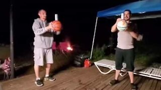 Basketball Beer Challenge ends painfully!