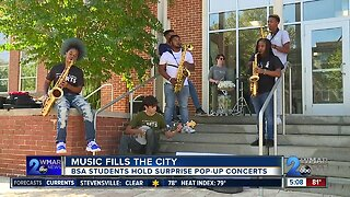 Baltimore School for the Arts students performed pop-up concerts at 40 diverse neighborhoods