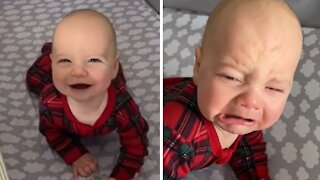 Smiling baby remembers it's naptime, instantly gets angry