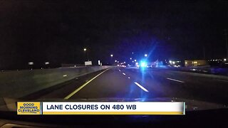 Lane closures on I-480 near Northfield Road