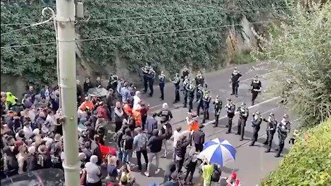 Freedom-Loving Australian Lockdown Protestors FIGHT BACK Against Tyrannical Police Line