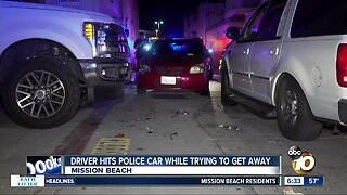 Suspected DUI driver hits San Diego police car while trying to get away
