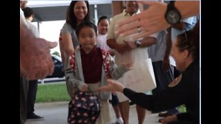 High Five help on first day of school