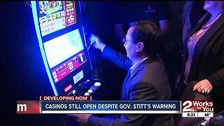 Casinos still open despite Gov. Stitt's warning