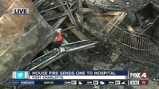 Charlotte County house fire sends one to hospital