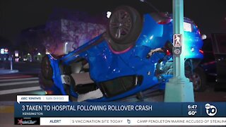 3 hospitalized after rollover crash in Kensington area