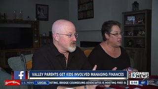 Parents working together with their kids to save money as a family