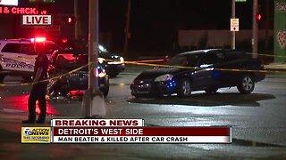 Man beaten to death after car crash on Detroit's west side