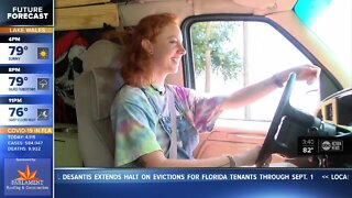Girl reunites with grandfather in Tampa after cross country road trip during pandemic