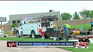 Tulsa businesses without water after water main break