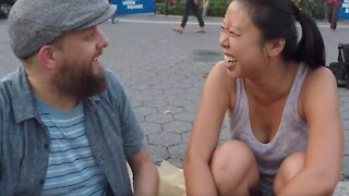 Man who's able to talk backwards WOWs strangers on the streets