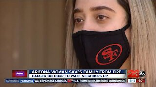 Woman saves family from fire