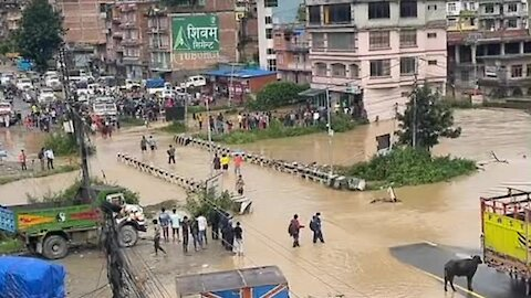 Heavy rains lead to extreme flooding in Banepa, Nepal