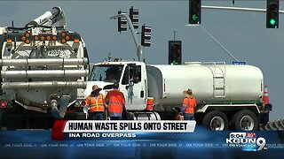 Roadways sanitized after human waste spilled Ina overpass