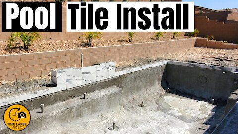 POOL TILE INSTALLATION - TIMELAPSE - HOW TO TILE A POOL