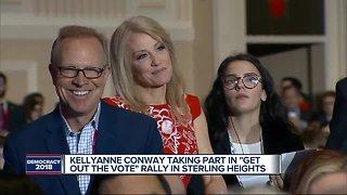 Former Vice President Joe Biden, Kellyanne Conway make campaign stop in Michigan