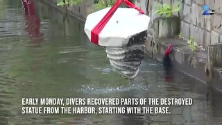 Divers recover Columbus statue after protesters tore it down, tossed it in harbor