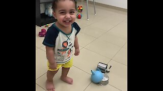 Baby finds toy hammer noise simply hysterical