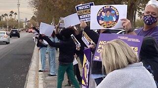 Vegas-area hospital holds walkout amid rising COVID cases, threats
