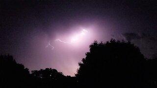 Dramatic lightning storm fills night sky above kansas