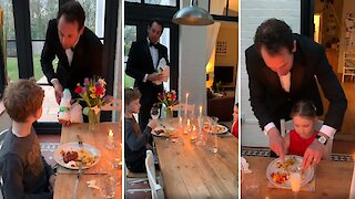 Parents throw posh dinner party for kids stuck inside during COVID-19 lockdown
