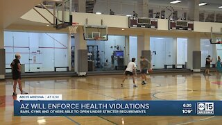 Arizona will enforce health violations for bars, gyms and others