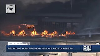 Massive recycling yard fire near 35th Avenue and Buckeye Road causing power outages