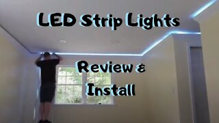 Installing Miheal RGB LED strip lights in crown molding /Review & Install /Basement Remodel Ideas