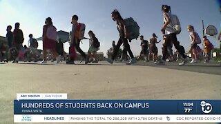 Camarena Elementary school students return to campus