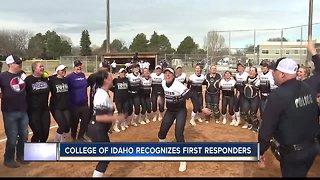 College of Idaho softball team honors first responders