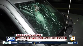 Man suspected of throwing rocks at vehicles, San Diego police station arrested